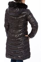 Faux Fur Trim Longline Zip Coat Black - Gallery Image 3