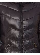 Faux Fur Trim Longline Zip Coat Black - Gallery Image 4