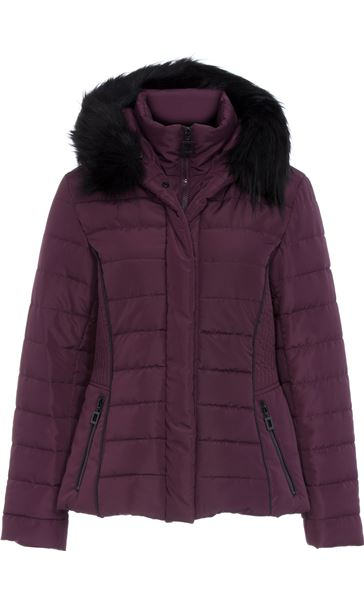 Padded Faux Fur Trim Coat Purple