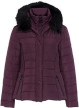 Padded Faux Fur Trim Coat Purple - Gallery Image 1