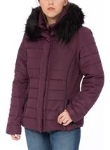 Padded Faux Fur Trim Coat Purple - Gallery Image 2
