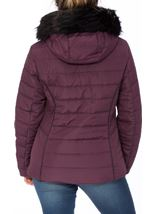 Padded Faux Fur Trim Coat Purple - Gallery Image 3