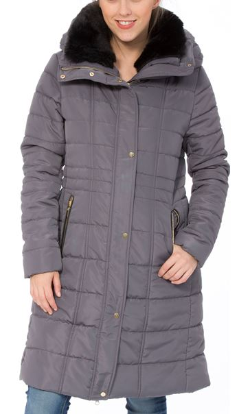 Padded Longline Coat Dark Grey