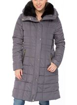Padded Longline Coat Dark Grey - Gallery Image 1