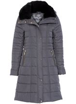 Padded Longline Coat Dark Grey - Gallery Image 3