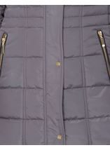 Padded Longline Coat Dark Grey - Gallery Image 4