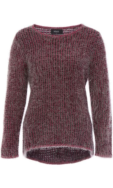 Patterned Eyelash Knit Top Black/Magenta
