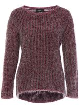 Patterned Eyelash Knit Top Black/Magenta - Gallery Image 1