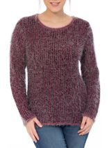 Patterned Eyelash Knit Top Black/Magenta - Gallery Image 2