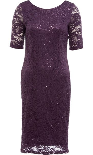 Anna Rose Lace And Sequin Midi Dress Dusty Purple