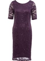 Anna Rose Lace And Sequin Midi Dress Dusty Purple - Gallery Image 1