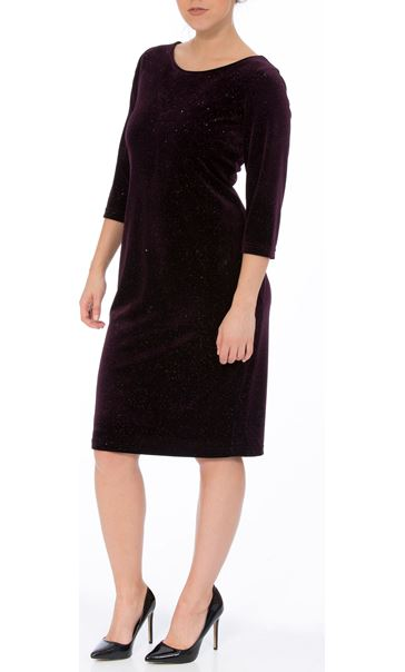 Sparkle Velour Fitted Midi Dress Purple
