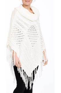 Textured Knit Tassel Poncho