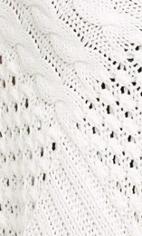 Textured Knit Tassel Poncho White - Gallery Image 3