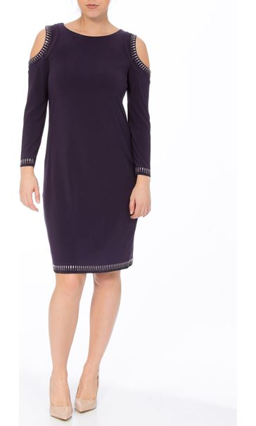 Embellished Cold Shoulder Jersey Midi Dress Nightshade