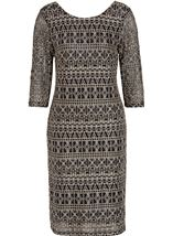 Fitted Three Quarter Sleeve Lace Midi Dress Black/Gold - Gallery Image 3