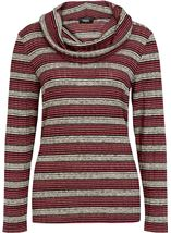 Shimmer Striped Cowl Neck Knit Top Black/Gold/Magenta - Gallery Image 1
