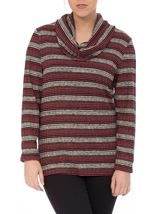 Shimmer Striped Cowl Neck Knit Top Black/Gold/Magenta - Gallery Image 2