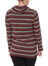 Shimmer Striped Cowl Neck Knit Top Black/Gold/Magenta - Gallery Image 3