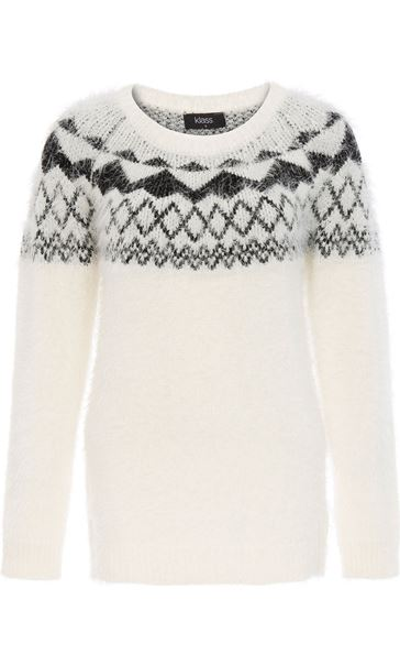 Monochrome Eyelash Knitted Top White/Black