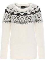 Monochrome Eyelash Knitted Top White/Black - Gallery Image 1