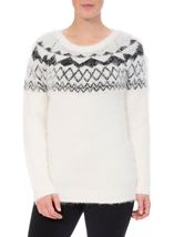Monochrome Eyelash Knitted Top White/Black - Gallery Image 2