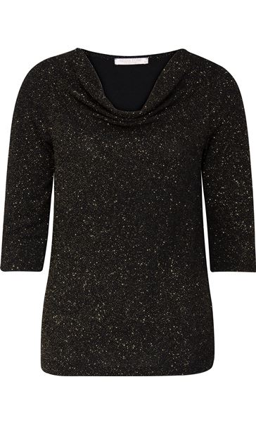 Anna Rose Cowl Neck Jersey Sparkle Top Black/Gold