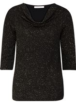 Anna Rose Cowl Neck Jersey Sparkle Top Black/Gold - Gallery Image 1