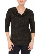 Anna Rose Cowl Neck Jersey Sparkle Top Black/Gold - Gallery Image 2