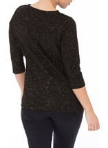 Anna Rose Cowl Neck Jersey Sparkle Top Black/Gold - Gallery Image 3