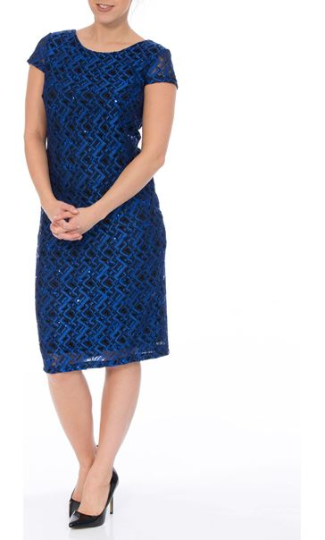 Fitted Short Sleeve Lace Midi Dress Cobalt