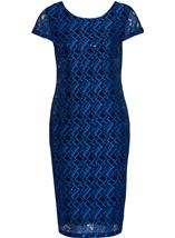 Fitted Short Sleeve Lace Midi Dress Cobalt - Gallery Image 3