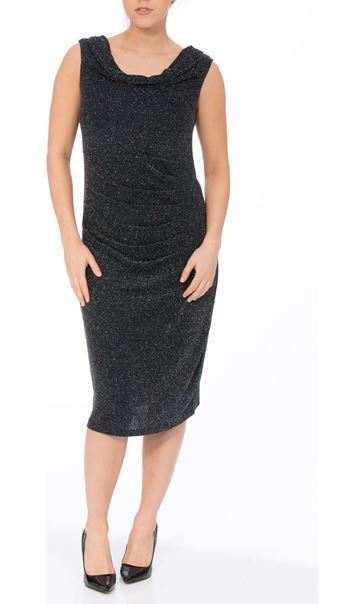 Sparkle Cowl Neck Midi Dress Black/Silver/Blue