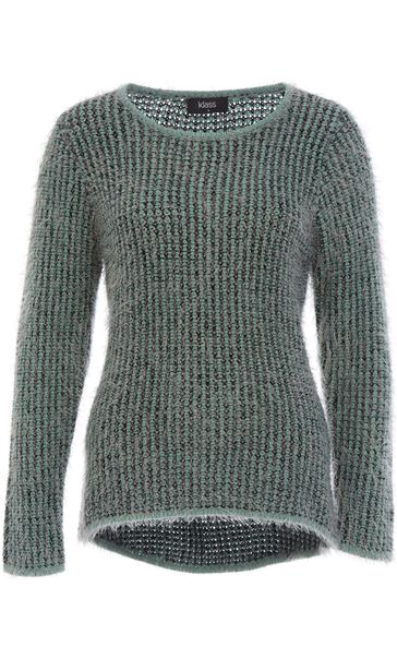 Patterned Eyelash Knit Top Black/Green/Grey