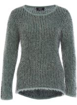 Patterned Eyelash Knit Top Black/Green/Grey - Gallery Image 1