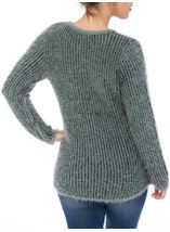 Patterned Eyelash Knit Top Black/Green/Grey - Gallery Image 3
