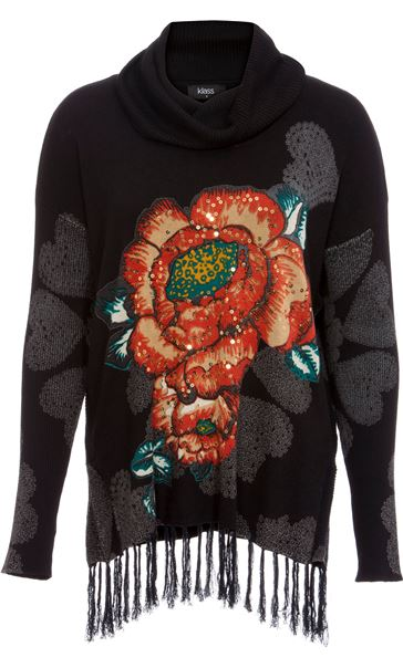 Floral Placement Print Tassel Knit Top Black/Multi