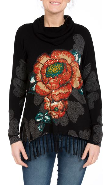 Floral Placement Print Tassel Knit Top Black/Multi - Gallery Image 2