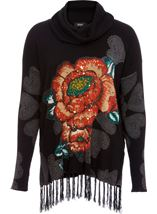 Floral Placement Print Tassel Knit Top Black/Multi - Gallery Image 1