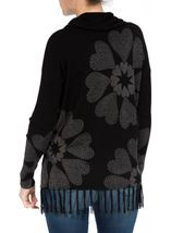 Floral Placement Print Tassel Knit Top Black/Multi - Gallery Image 3
