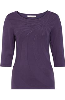 Anna Rose Embellished Knit Top - Dusty Purple