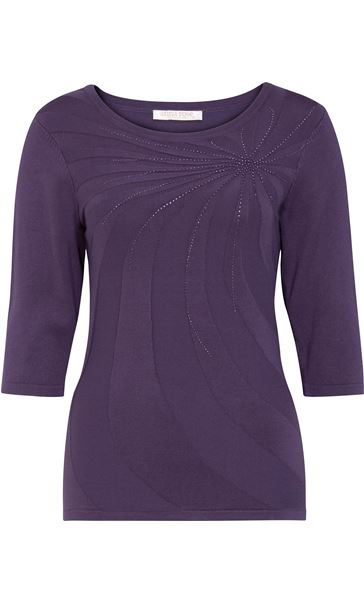 Anna Rose Embellished Knit Top Dusty Purple