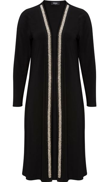 Longline Embellished Open Cover Up Black