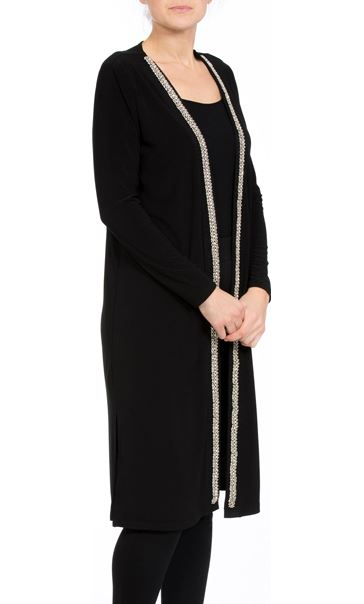 Longline Embellished Open Cover Up Black - Gallery Image 2