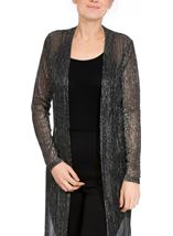 Long Semi Sheer Plisse Cover Up Black/Silver - Gallery Image 2