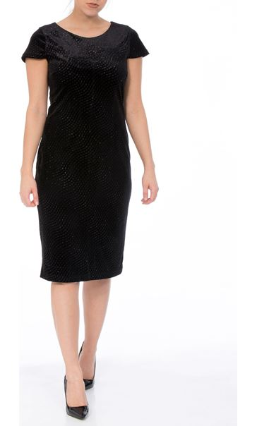 Textured Velour Cap Sleeve Midi Dress Black - Gallery Image 1