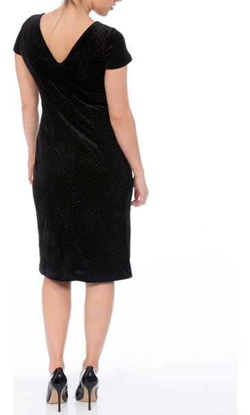 Textured Velour Cap Sleeve Midi Dress Black - Gallery Image 2