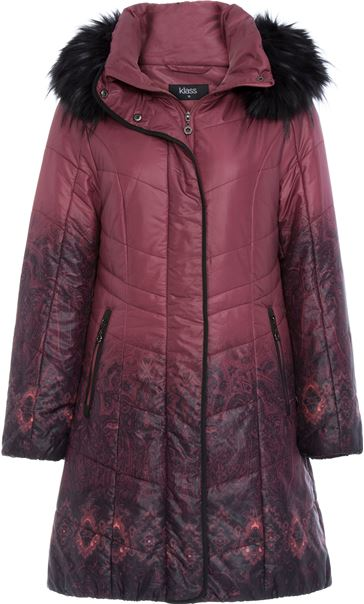 Longline Print Padded Coat Red