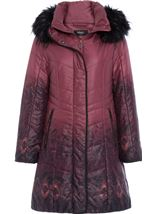 Longline Print Padded Coat Red - Gallery Image 1