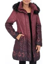 Longline Print Padded Coat Red - Gallery Image 2